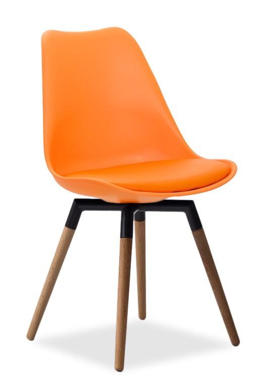 Stolička GINA 9301-817+FIDO 9315-154 (oranžová,čierna,dub)