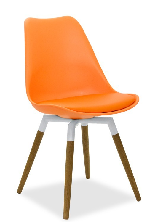 Stolička GINA 9301-817+FIDO 9315-454 (oranžová,biela,dub)