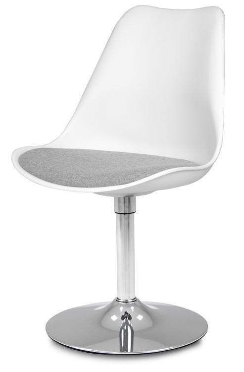 Stolička GINA 9361-413+TRUMPET 9341-091 (biela,šedá,chróm)