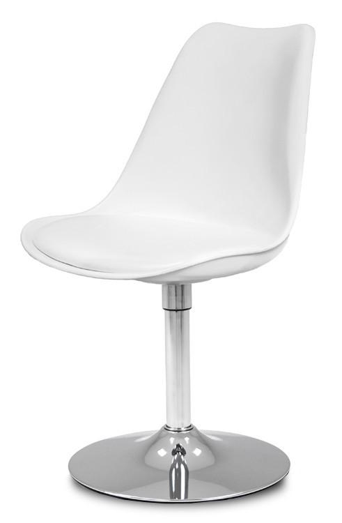 Stolička GINA 9361-801+TRUMPET 9341-091 (biela,chróm)