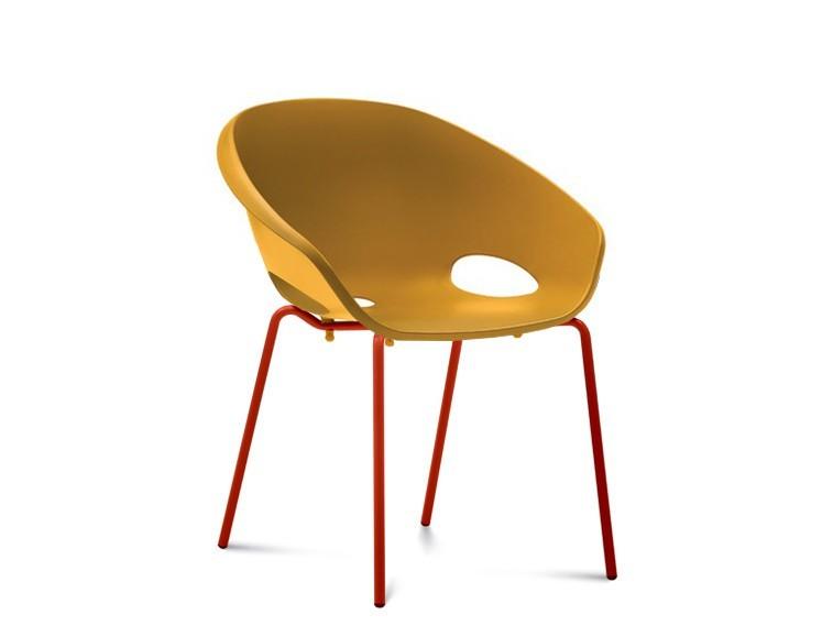 Stolička Globe - Jedálenská stolička (lak červený, hořčicová)