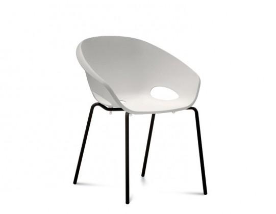 Stolička Globe - Jedálenská stolička (lak čierny, biela)