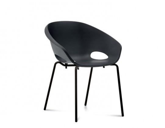Stolička Globe - Jedálenská stolička (lak čierny, čierna)