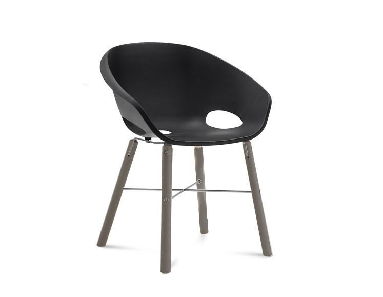 Stolička Globe-L - Jedálenská stolička (antracit lak, hliník, čierna)