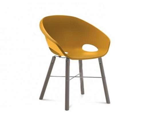 Stolička Globe-L - Jedálenská stolička (antracit lak, hliník, hořčicová)