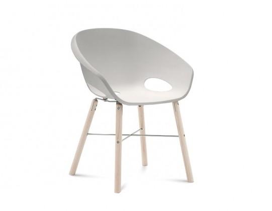 Stolička Globe-L - Jedálenská stolička (biely jaseň, hliník, biela)