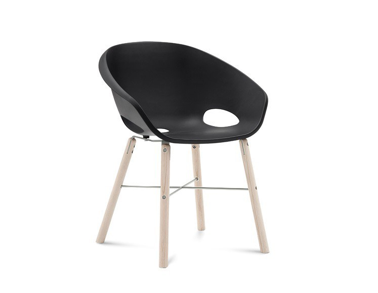Stolička Globe-L - Jedálenská stolička (biely jaseň, hliník, čierna)