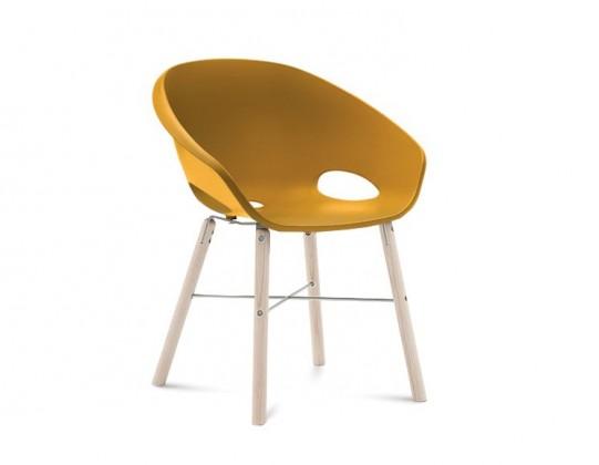 Stolička Globe-L - Jedálenská stolička (biely jaseň, hliník, hořčicová)