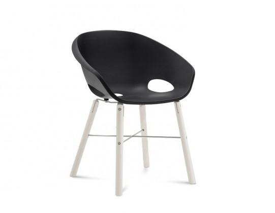 Stolička Globe-L - Jedálenská stolička (biely lak, hliník, čierna)