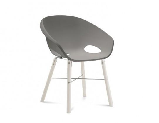 Stolička Globe-L - Jedálenská stolička (biely lak, hliník, piesková)