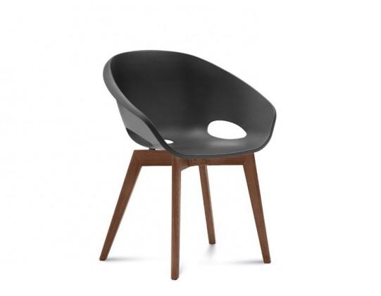 Stolička Globe-LG - Jedálenská stolička (orech, čierna)