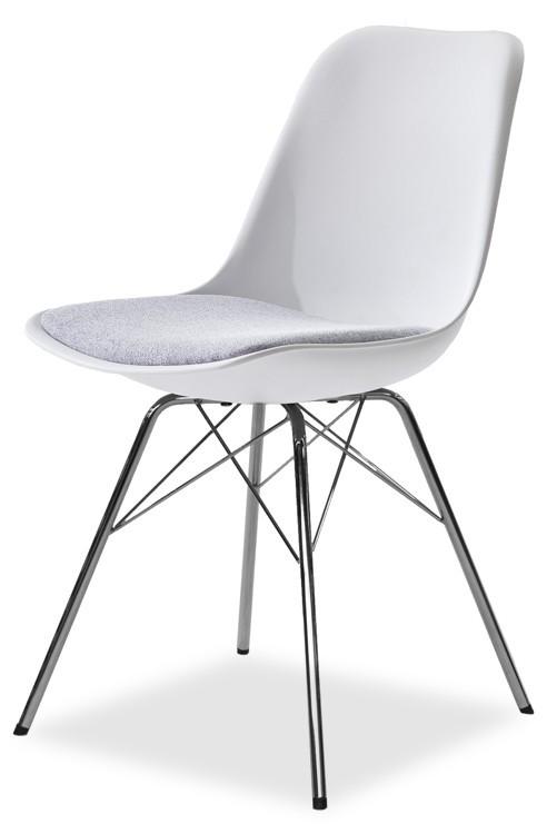 Stolička GRACE 9360-413+PORGY 9346-091 (biela,šedá,chróm)