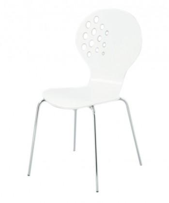 Stolička Jane(vysoký lesk biely/chróm)