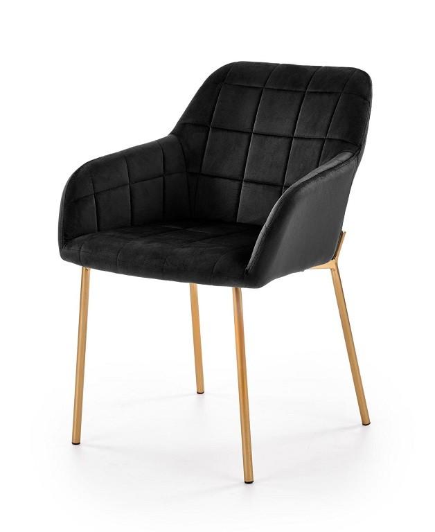 Stolička Jedálenská stolička Belen (látka, kov, čierna)