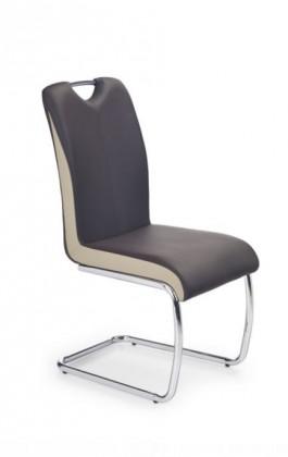 Stolička Jedálenská stolička K184 (eco koža tmavo hnedá-šampaň, chróm)