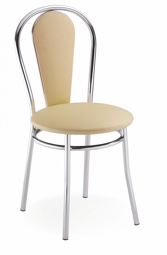 Stolička Jedálenská stolička Tulipan Plus (béžová, chróm)