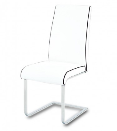 Stolička Jenny(koženka biela s čiernu paspulou/chróm)