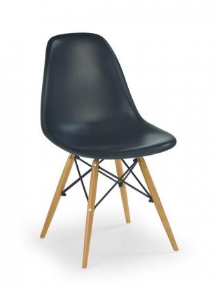 Stolička K 153 (čierna, masiv/lakovaná ocel, ABS)