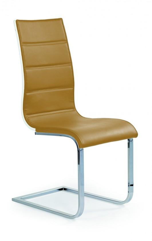 Stolička K104 (chróm, eko koža béžová, biela)
