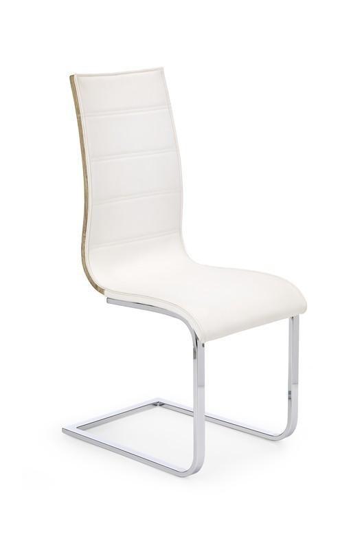 Stolička K104  (chróm, eko koža biela, zadná časť dub sonoma)