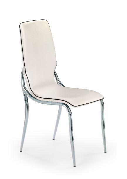 Stolička K136  (eco koža bielo-čierna, chróm)