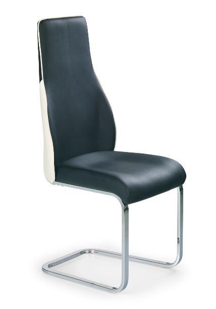 Stolička K141  (eco koža černo-biela, chróm)
