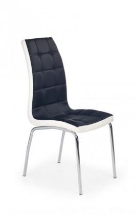Stolička K186  (eco koža černo-biela, chróm)