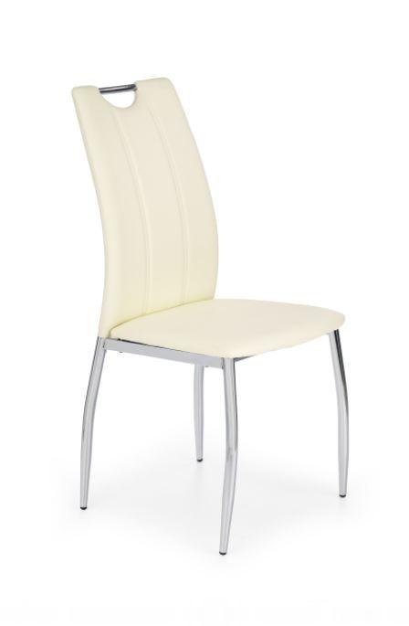 Stolička K187  (eco koža biela, chróm)