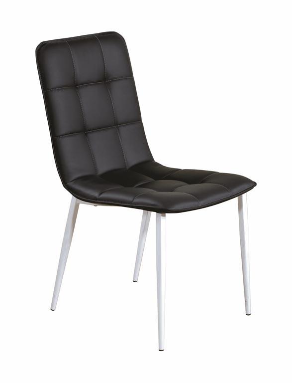 Stolička K191  (eko koža bílo-čierná, matná ocel biela)