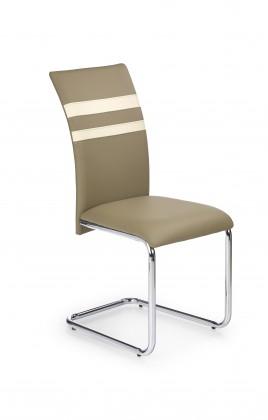 Stolička K197 - jedálenská stolička (eco koža béžová, chróm)