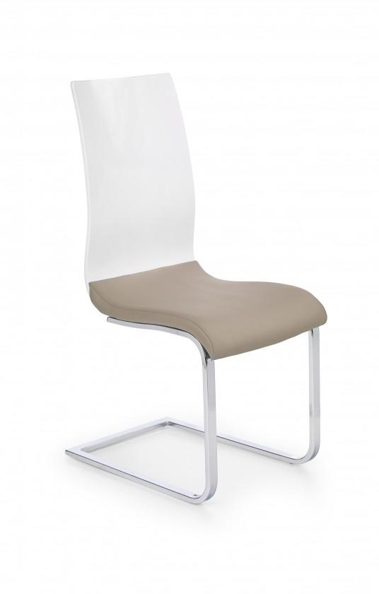 Stolička K198 - jedálenská stolička (eco koža cappuccino-biela, chróm)