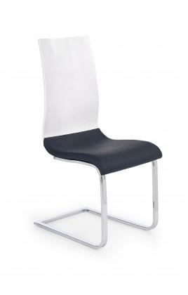 Stolička K198 - jedálenská stolička (eco koža čierno-biela, chróm)