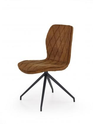 Stolička K237 - Jedálenská stolička, hnědá (ocel, eko koža)