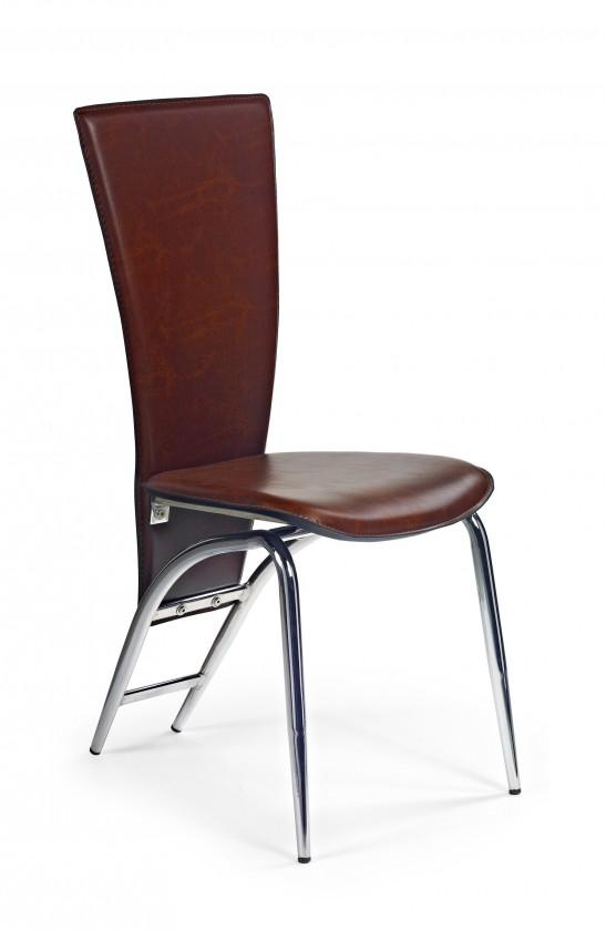 Stolička K46  (eco koža tmavo hnedá, chróm)