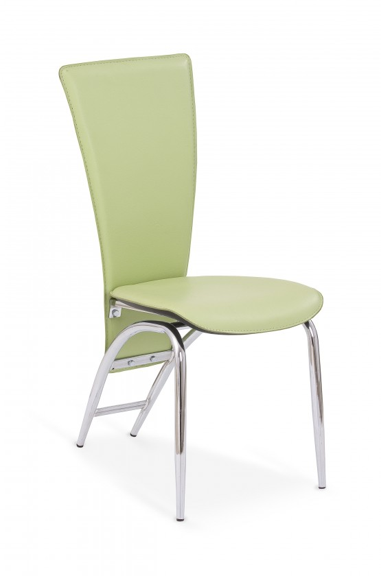 Stolička K46  (eco koža zelená, chróm)
