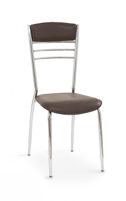 Stolička K48  (tmavo hnedá, chróm)