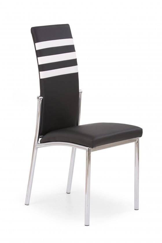 Stolička K54  (eco koža bielo-čierna, chróm)