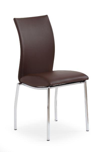 Stolička K76  (eco koža hnedá, chróm)