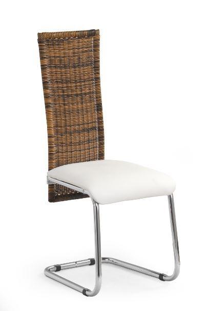 Stolička K79  (eco koža krémová, ratan, chróm)
