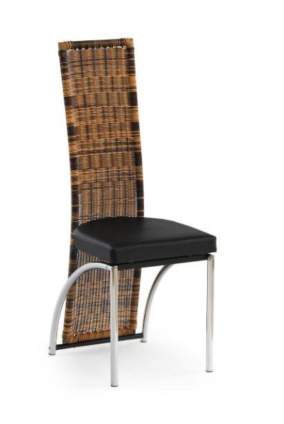 Stolička K80  (eco koža čierna, ratan, chróm)