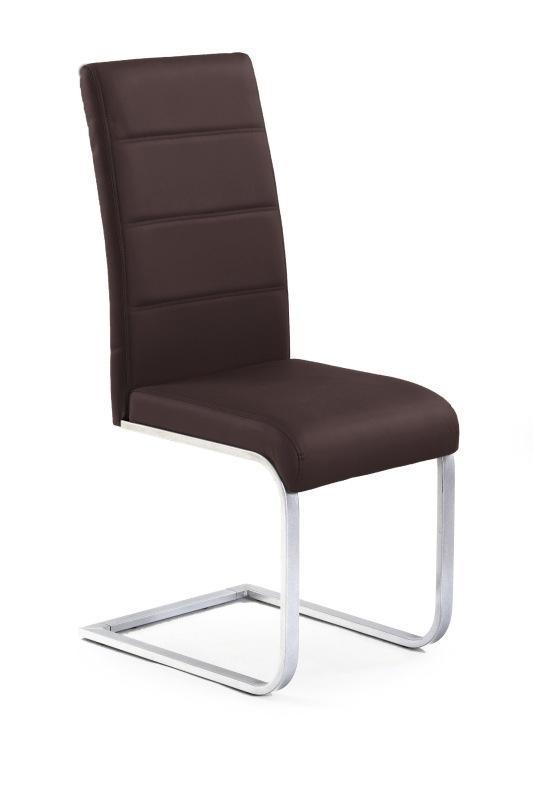 Stolička K85 (eco koža hnedá, chróm)