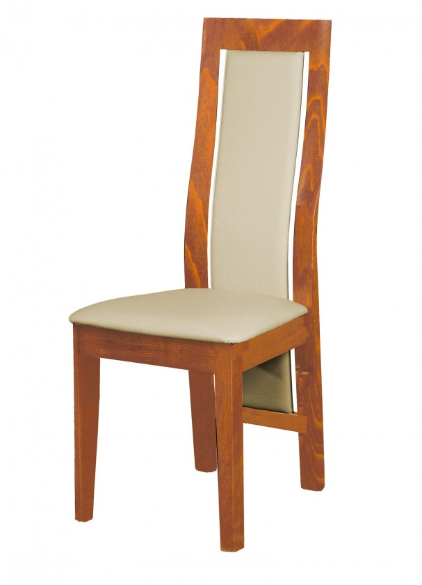 Stolička Kanzas - jedálenská stolička (drevo - svetlý orech/poťah - syntetická koža)