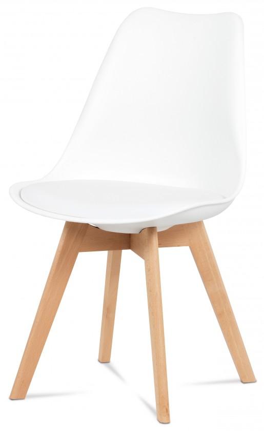 Stolička Lina - Jedálenská stolička biela, plast + eko kože