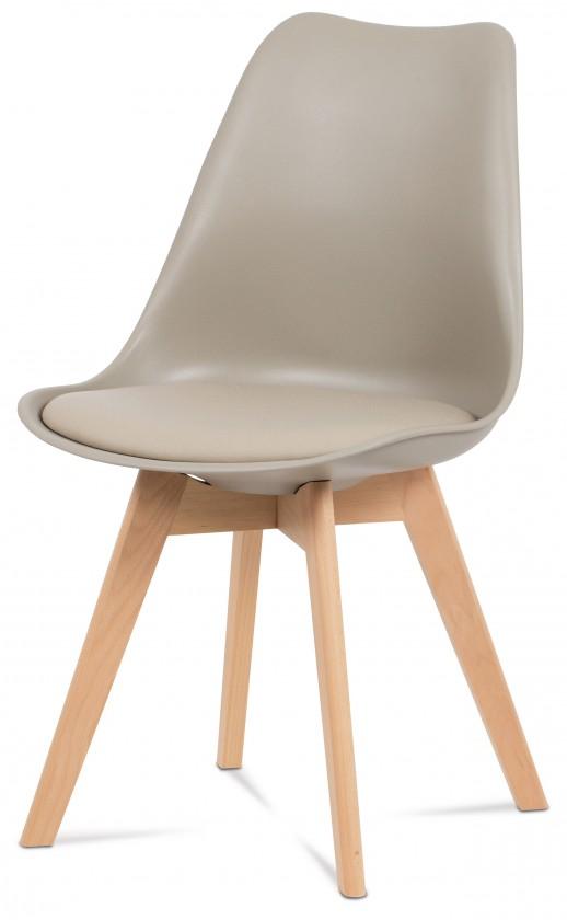 Stolička Lina - Jedálenská stolička latté, plast + eko kože