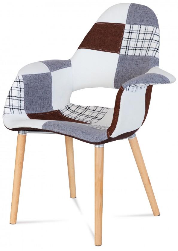 Stolička Lis - Jedálenská stolička s podrúčkami (patchwork/natural)