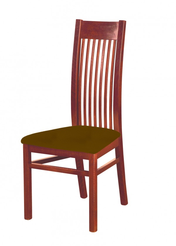 Stolička Patrycja - jedálenská stolička (drevo - orech svetlý/poťah - syntetická koža)