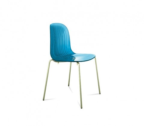 Stolička Playa (chrómovaná oceľ, svetlo modrá)