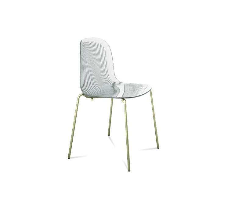 Stolička Playa (chrómovaná oceľ, transparentní)