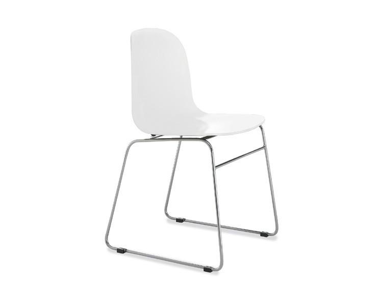 Stolička Playa-T (chrómovaná oceľ, biela)