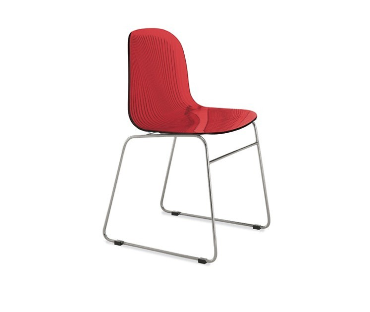 Stolička Playa-T (chrómovaná oceľ, červená bordó)